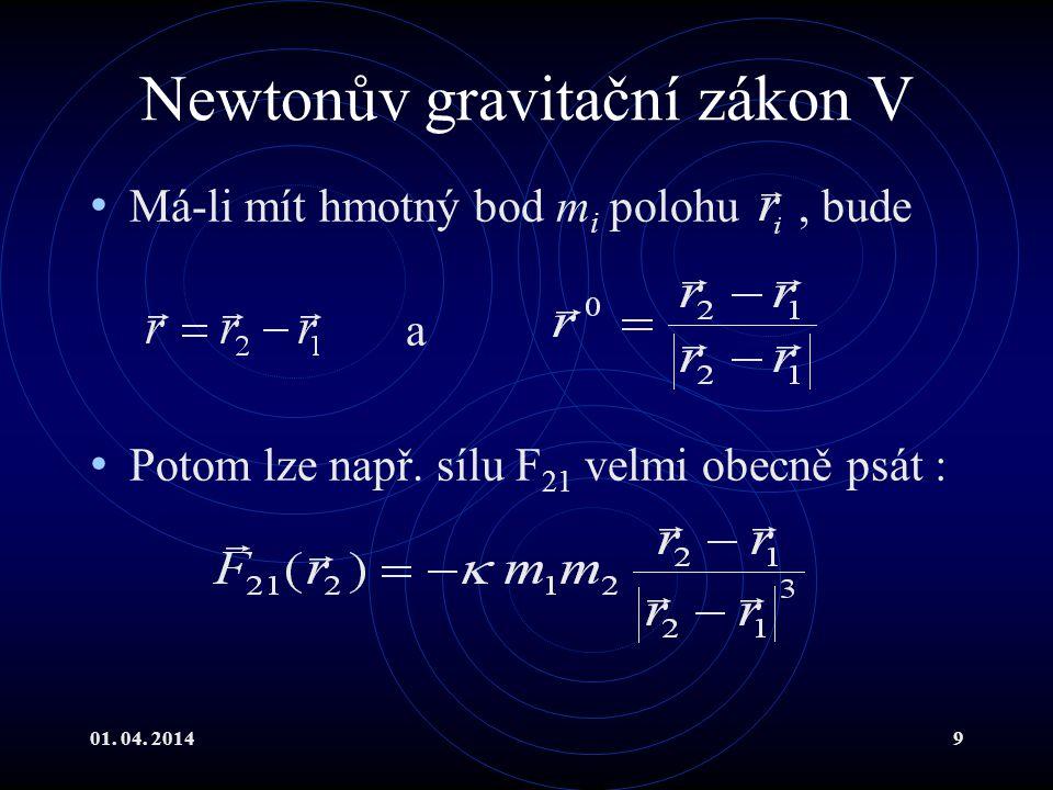 Newtonův gravitační zákon V
