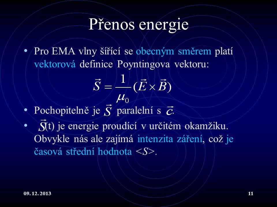 Přenos energie Pro EMA vlny šířící se obecným směrem platí vektorová definice Poyntingova vektoru: Pochopitelně je paralelní s .
