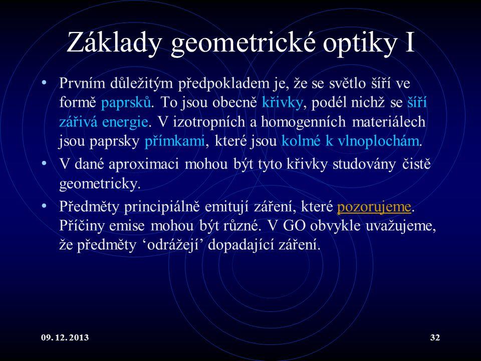 Základy geometrické optiky I
