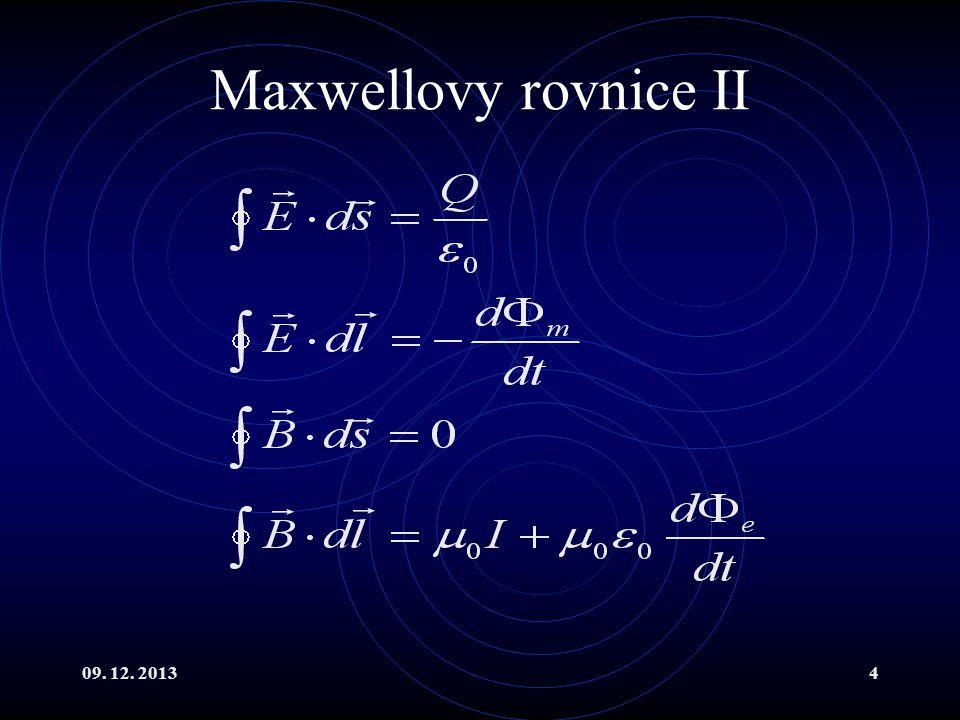 Maxwellovy rovnice II 09. 12. 2013