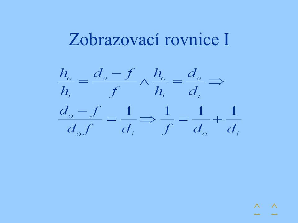 Zobrazovací rovnice I ^ ^