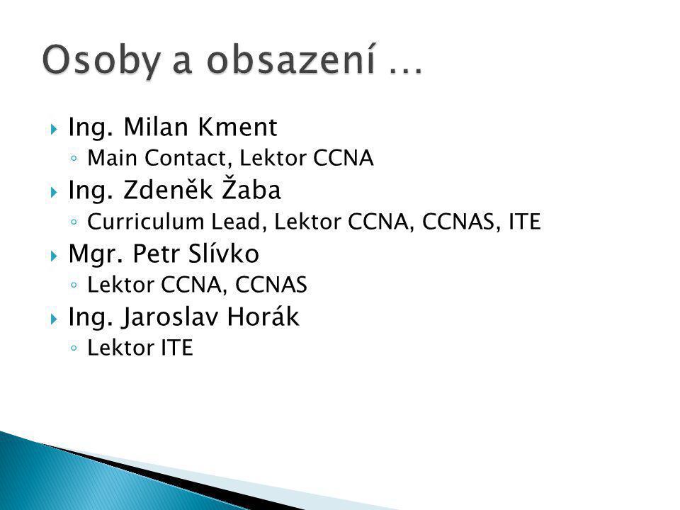 Osoby a obsazení … Ing. Milan Kment Ing. Zdeněk Žaba Mgr. Petr Slívko