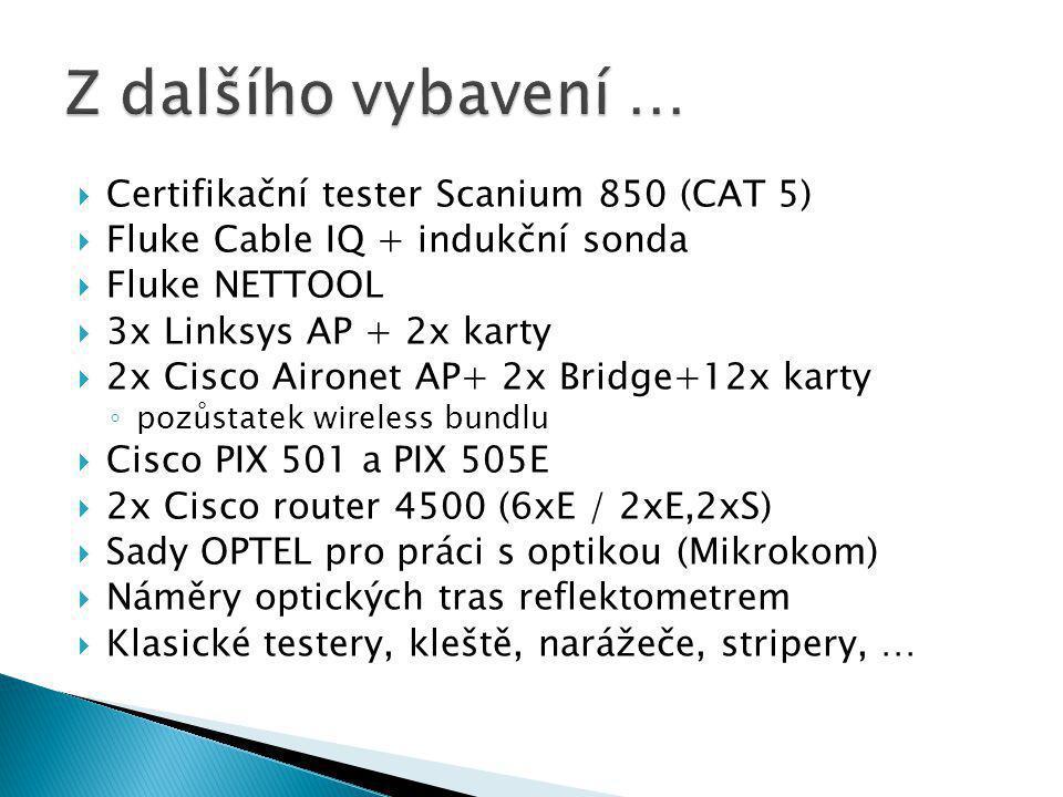 Z dalšího vybavení … Certifikační tester Scanium 850 (CAT 5)