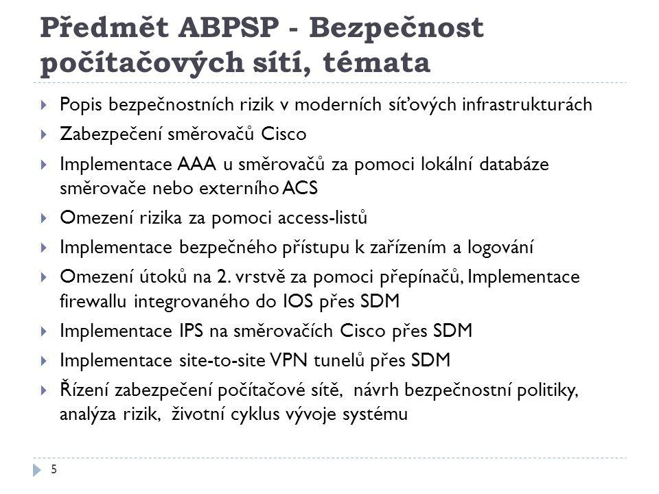 Předmět ABPSP - Bezpečnost počítačových sítí, témata