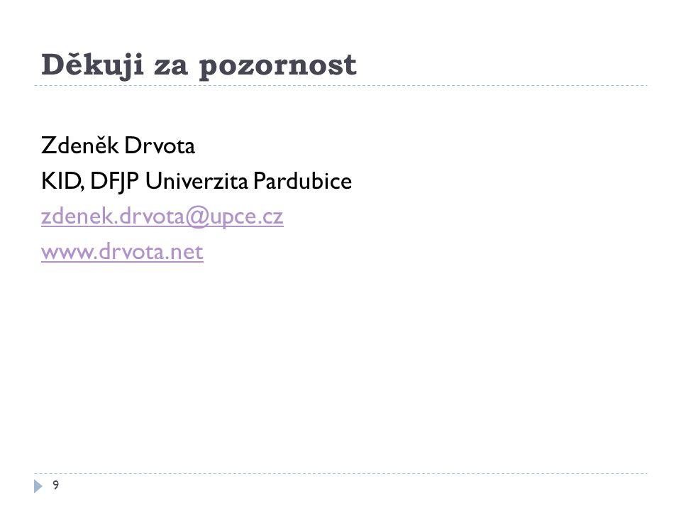 Děkuji za pozornost Zdeněk Drvota KID, DFJP Univerzita Pardubice zdenek.drvota@upce.cz www.drvota.net
