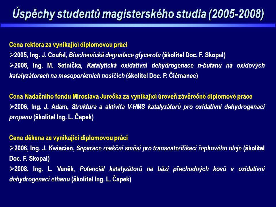 Úspěchy studentů magisterského studia (2005-2008)
