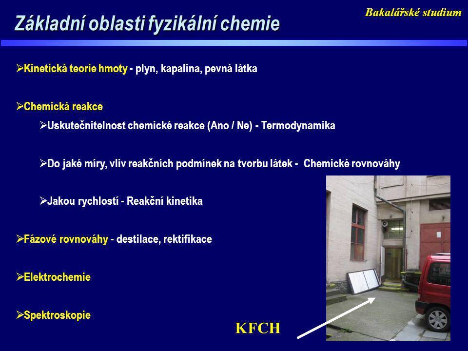 Základní oblasti fyzikální chemie