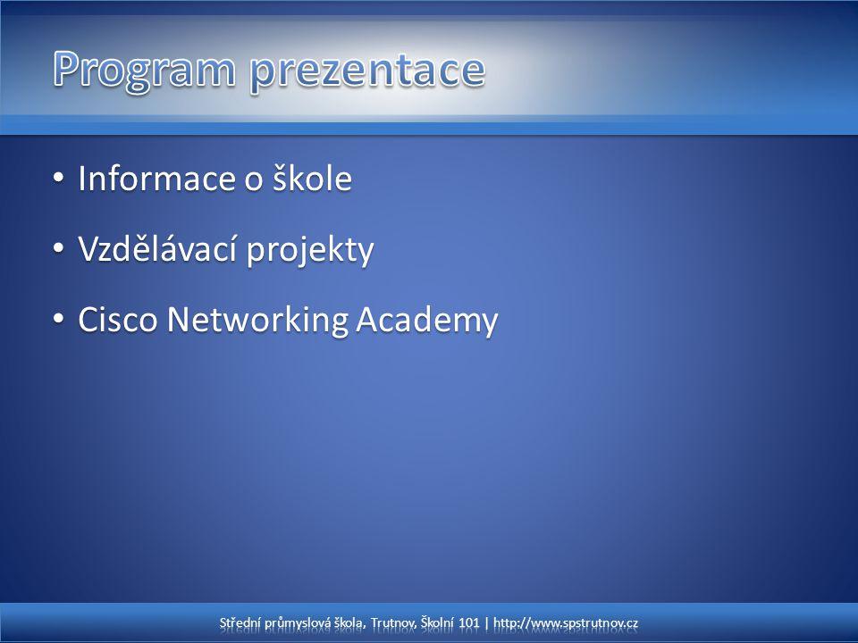 Program prezentace Informace o škole Vzdělávací projekty