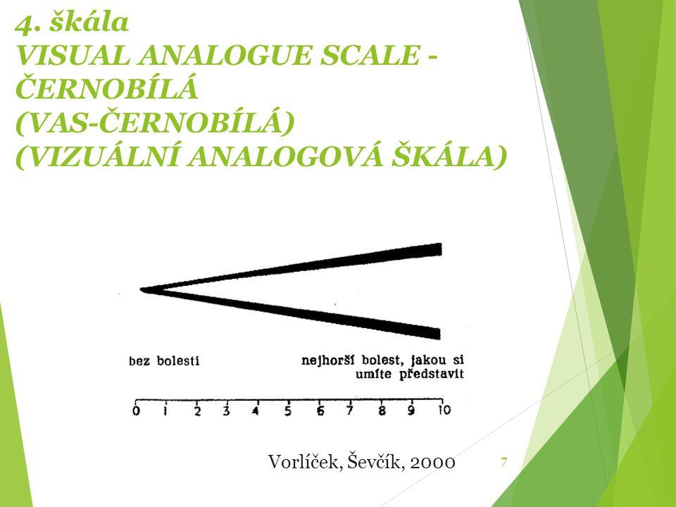 4. škála VISUAL ANALOGUE SCALE - ČERNOBÍLÁ (VAS-ČERNOBÍLÁ) (VIZUÁLNÍ ANALOGOVÁ ŠKÁLA)