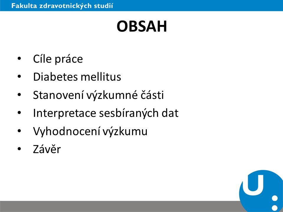 OBSAH Cíle práce Diabetes mellitus Stanovení výzkumné části