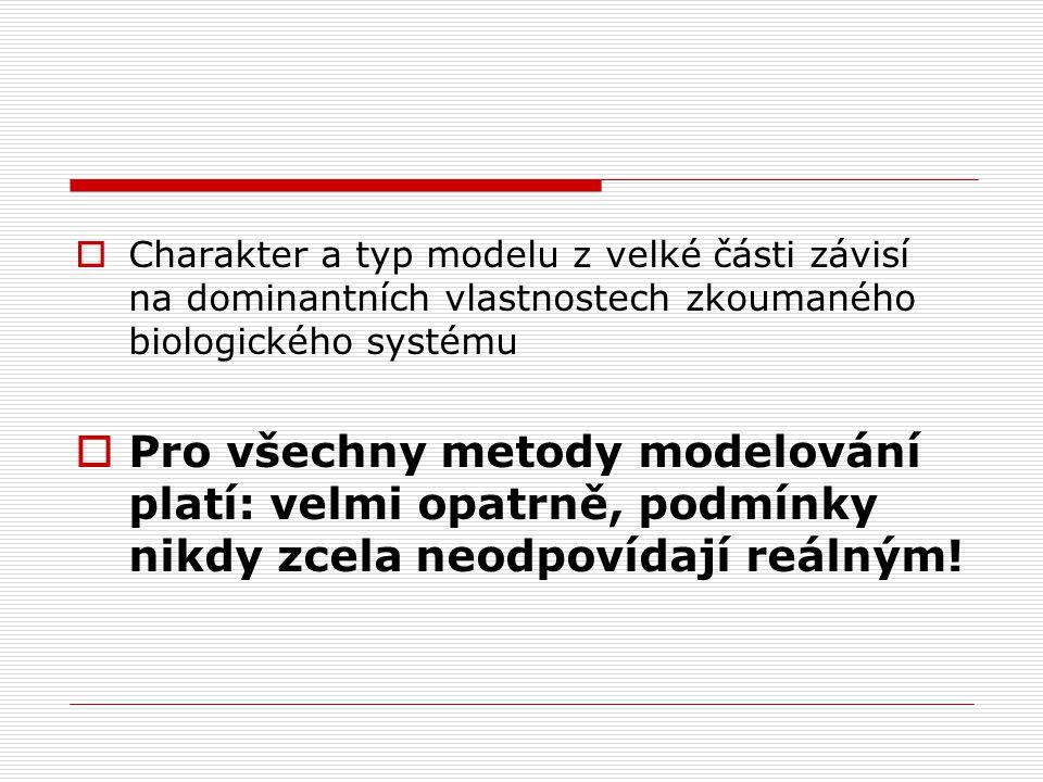 Charakter a typ modelu z velké části závisí na dominantních vlastnostech zkoumaného biologického systému