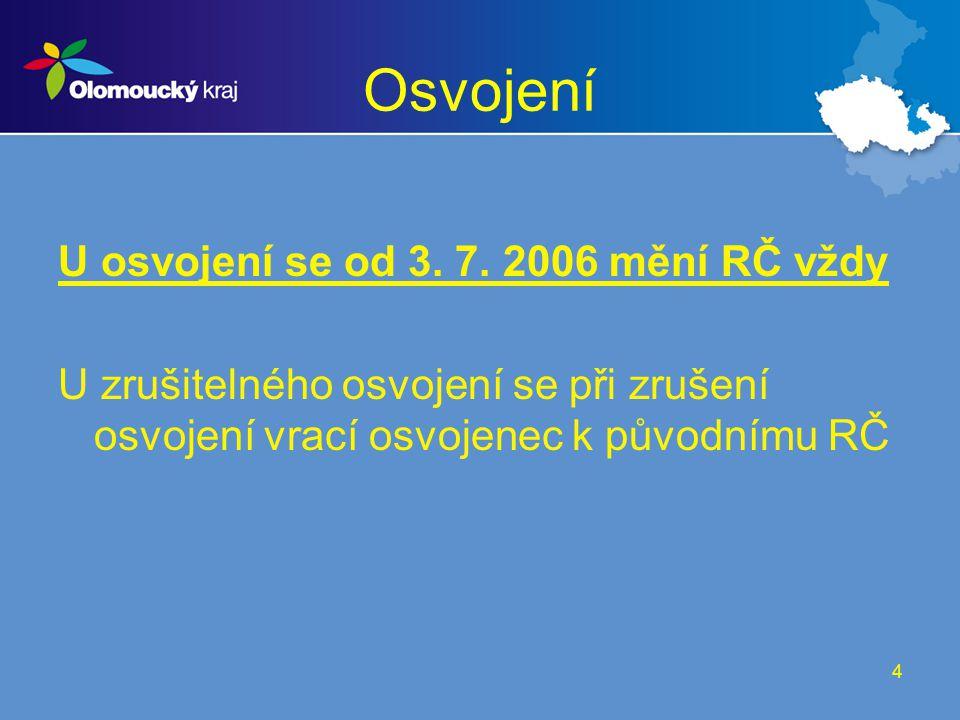 Osvojení U osvojení se od 3. 7. 2006 mění RČ vždy