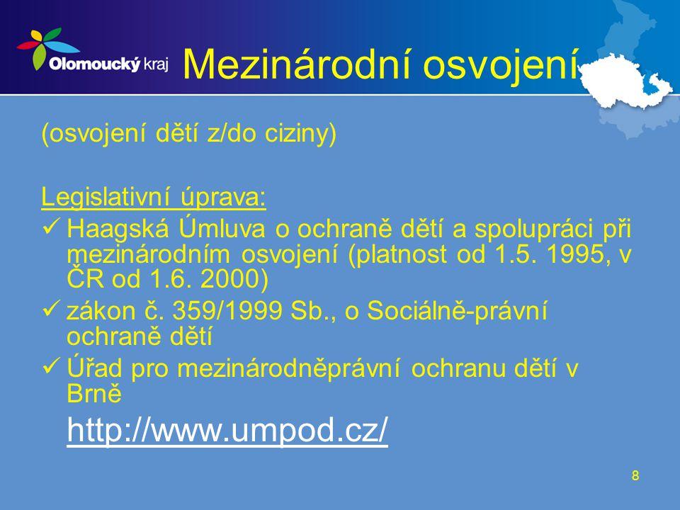 Mezinárodní osvojení http://www.umpod.cz/ (osvojení dětí z/do ciziny)