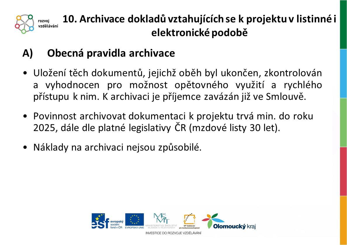 Obecná pravidla archivace
