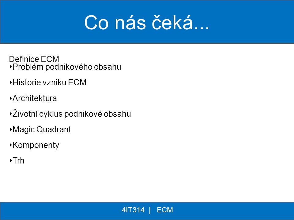 Co nás čeká... Definice ECM Problém podnikového obsahu