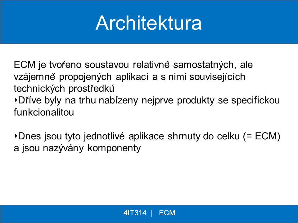 Architektura ECM je tvořeno soustavou relativně samostatných, ale vzájemně propojených aplikací a s nimi souvisejících technických prostředků
