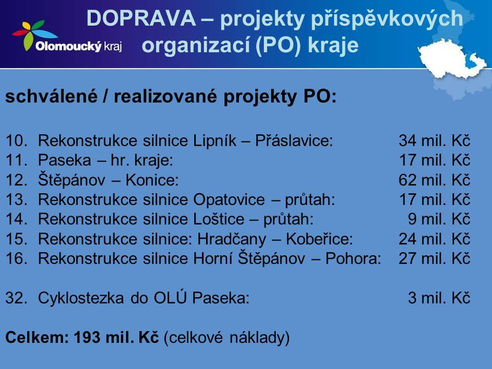 DOPRAVA – projekty příspěvkových organizací (PO) kraje