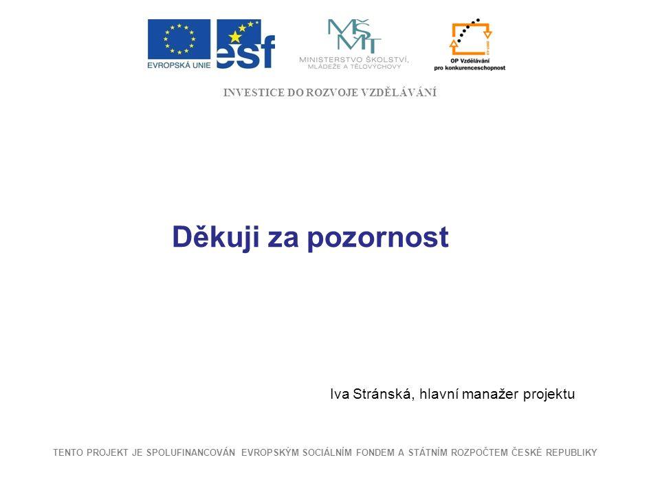 Děkuji za pozornost Iva Stránská, hlavní manažer projektu