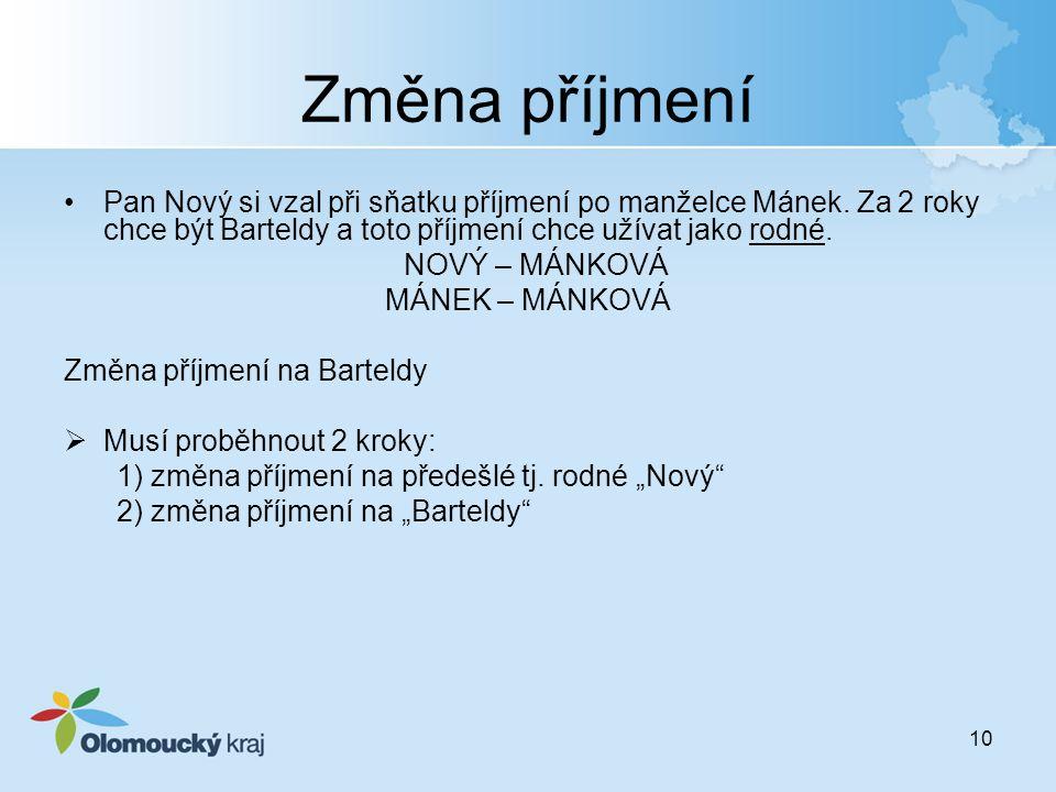 Změna příjmení Pan Nový si vzal při sňatku příjmení po manželce Mánek. Za 2 roky chce být Barteldy a toto příjmení chce užívat jako rodné.