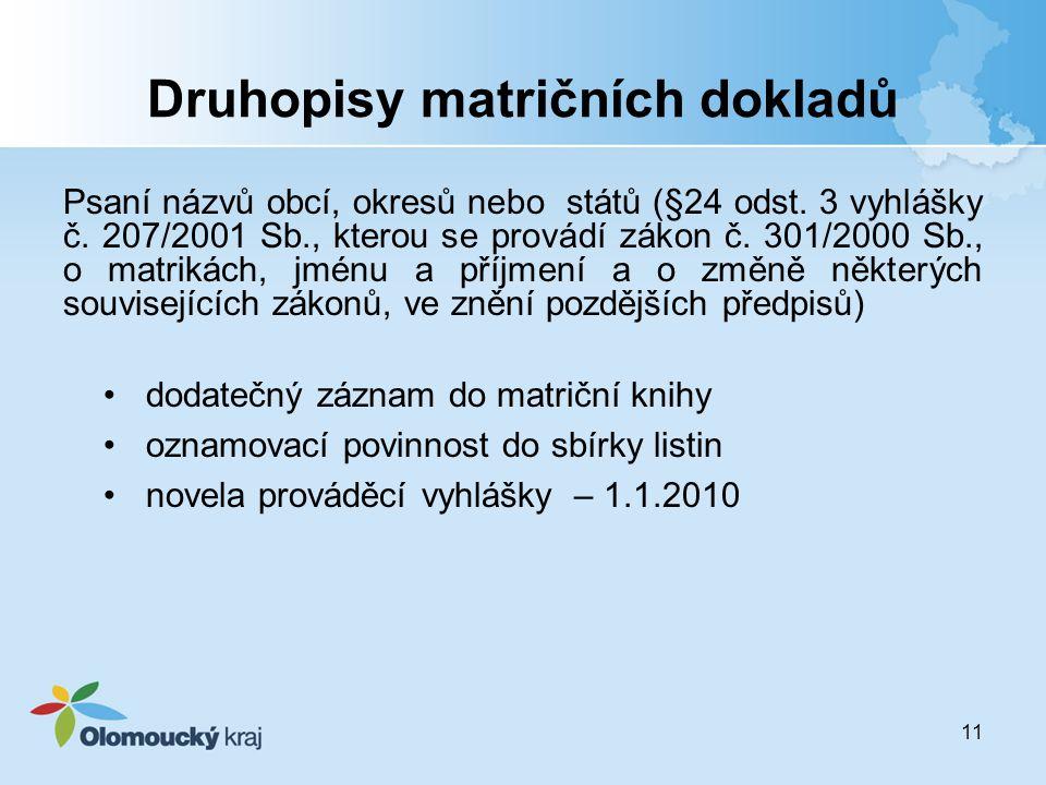 Druhopisy matričních dokladů