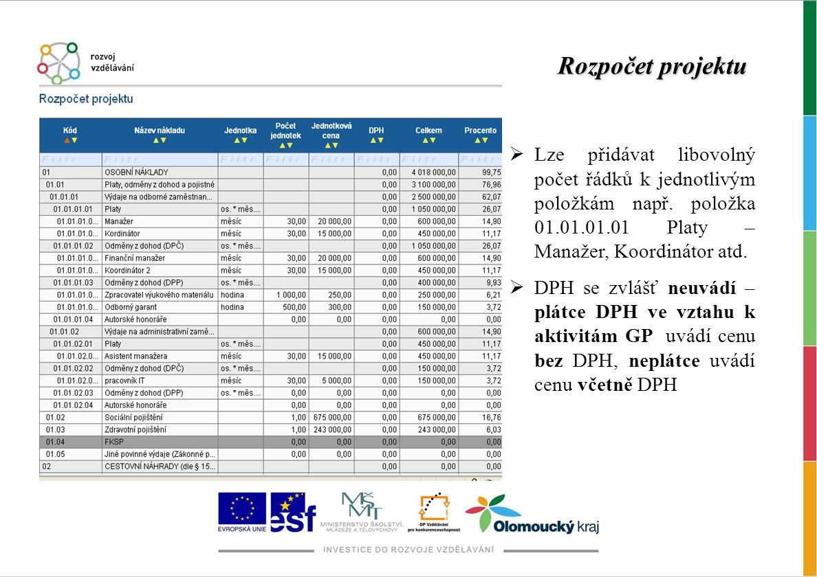 Rozpočet projektu Lze přidávat libovolný počet řádků k jednotlivým položkám např. položka 01.01.01.01 Platy – Manažer, Koordinátor atd.