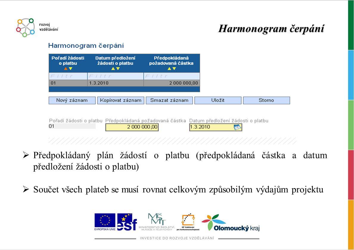 Harmonogram čerpání Předpokládaný plán žádostí o platbu (předpokládaná částka a datum předložení žádosti o platbu)