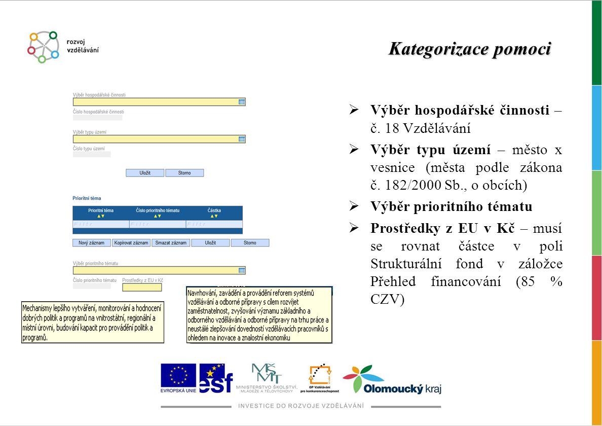 Kategorizace pomoci Výběr hospodářské činnosti – č. 18 Vzdělávání