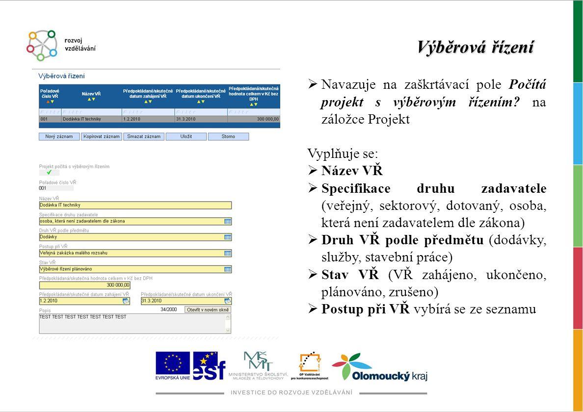 Výběrová řízení Navazuje na zaškrtávací pole Počítá projekt s výběrovým řízením na záložce Projekt.