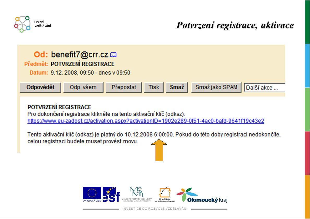 Potvrzení registrace, aktivace