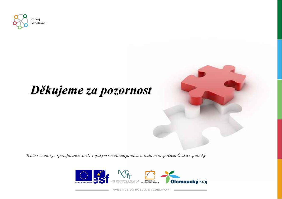 Děkujeme za pozornost Tento seminář je spolufinancován Evropským sociálním fondem a státním rozpočtem České republiky.