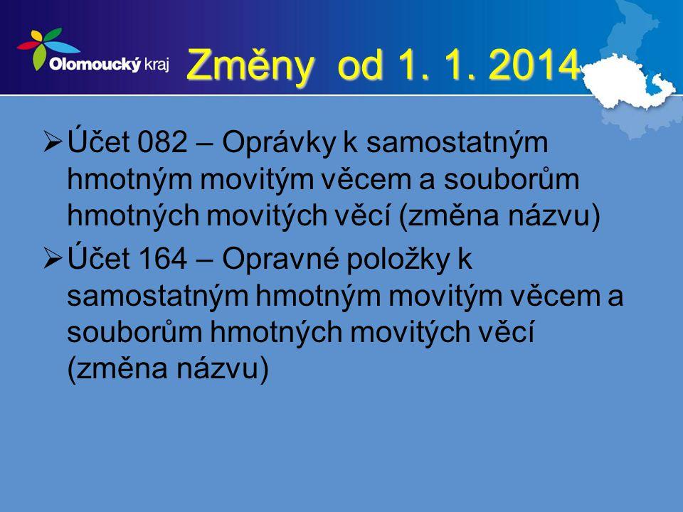 Změny od 1. 1. 2014 Účet 082 – Oprávky k samostatným hmotným movitým věcem a souborům hmotných movitých věcí (změna názvu)