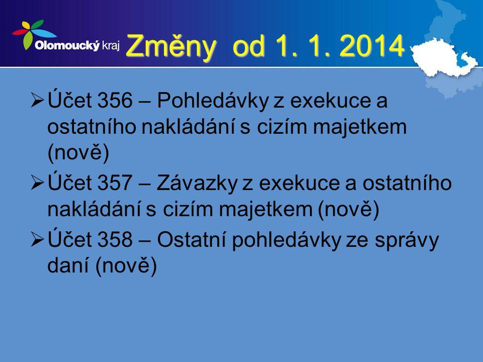 Změny od 1. 1. 2014 Účet 356 – Pohledávky z exekuce a ostatního nakládání s cizím majetkem (nově)