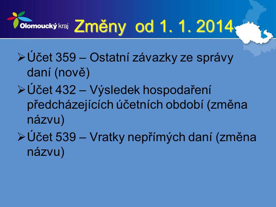 Změny od 1. 1. 2014 Účet 359 – Ostatní závazky ze správy daní (nově)
