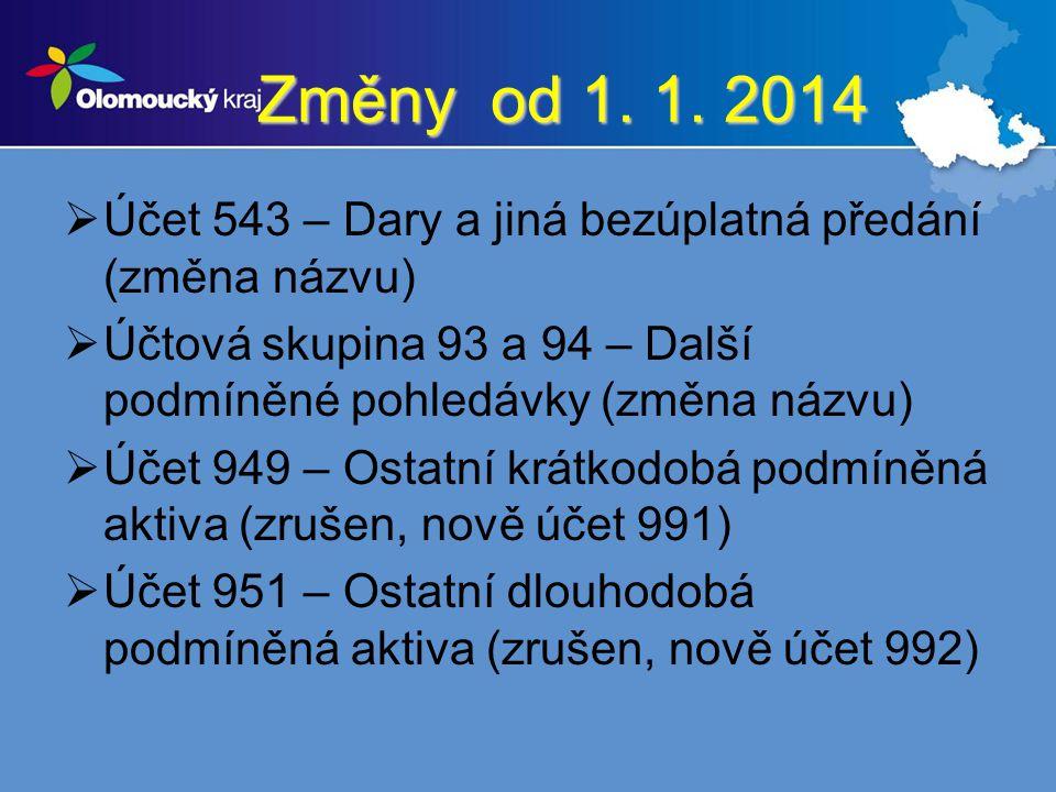 Změny od 1. 1. 2014 Účet 543 – Dary a jiná bezúplatná předání (změna názvu) Účtová skupina 93 a 94 – Další podmíněné pohledávky (změna názvu)