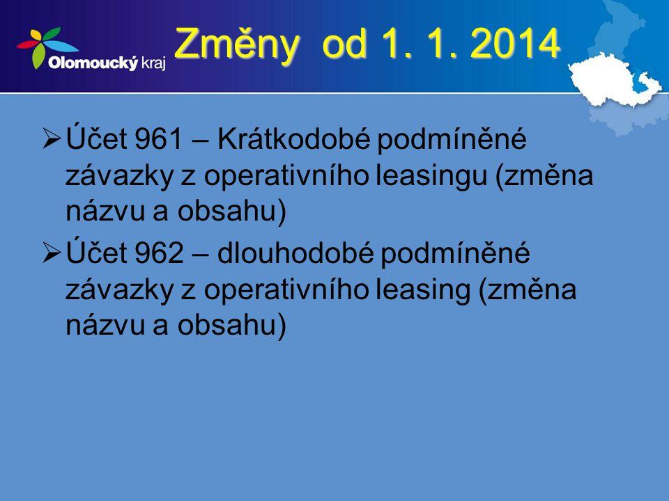 Změny od 1. 1. 2014 Účet 961 – Krátkodobé podmíněné závazky z operativního leasingu (změna názvu a obsahu)