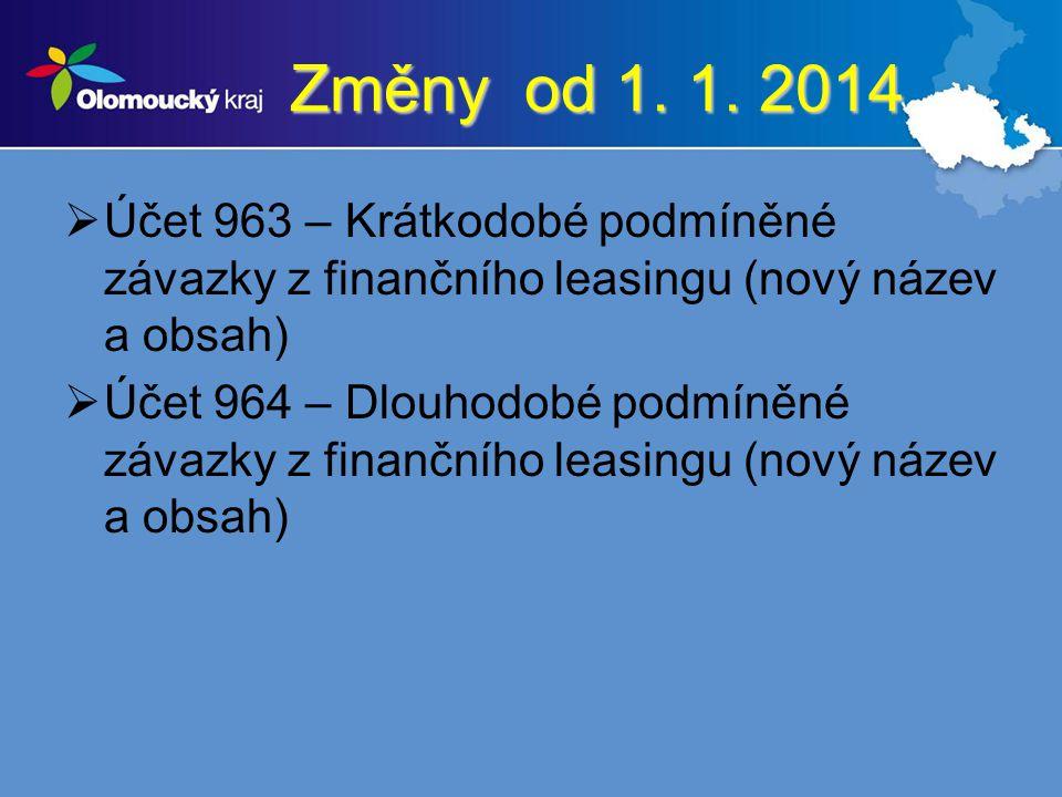 Změny od 1. 1. 2014 Účet 963 – Krátkodobé podmíněné závazky z finančního leasingu (nový název a obsah)