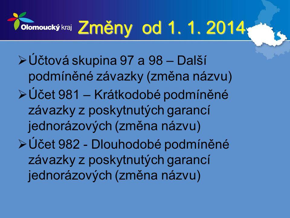 Změny od 1. 1. 2014 Účtová skupina 97 a 98 – Další podmíněné závazky (změna názvu)