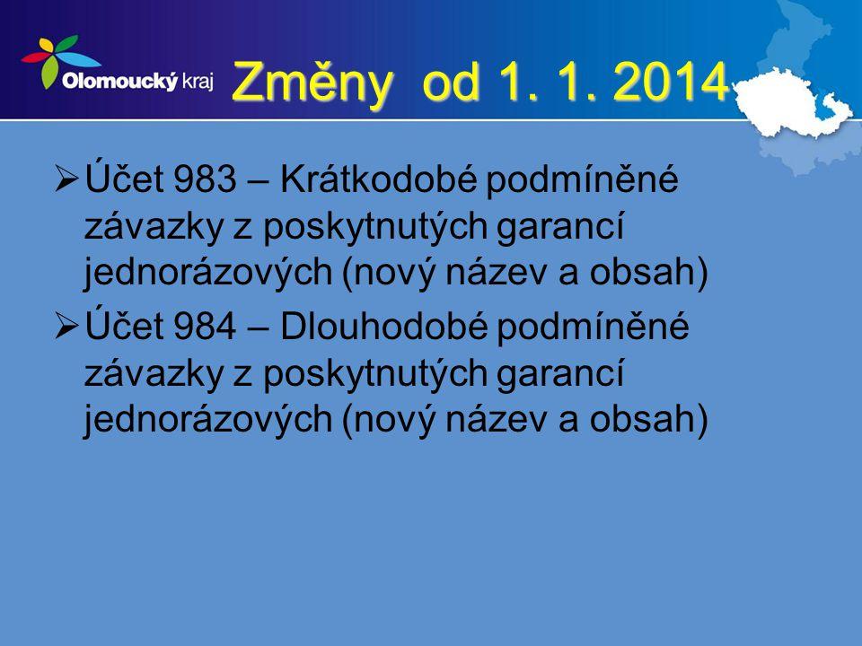 Změny od 1. 1. 2014 Účet 983 – Krátkodobé podmíněné závazky z poskytnutých garancí jednorázových (nový název a obsah)