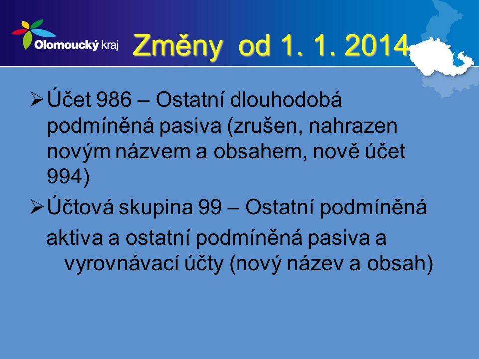 Změny od 1. 1. 2014 Účet 986 – Ostatní dlouhodobá podmíněná pasiva (zrušen, nahrazen novým názvem a obsahem, nově účet 994)