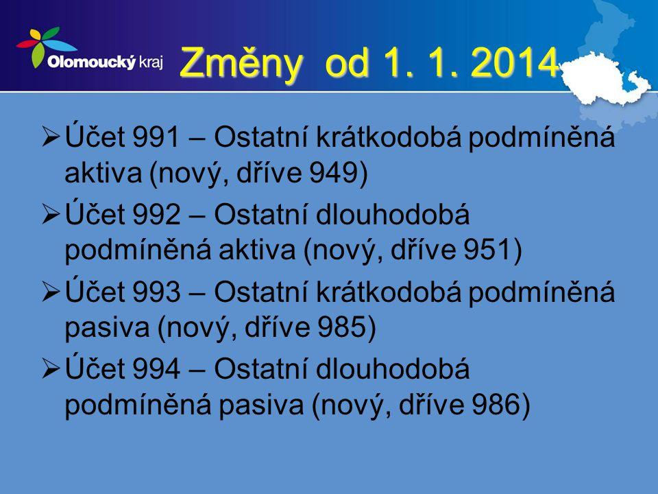 Změny od 1. 1. 2014 Účet 991 – Ostatní krátkodobá podmíněná aktiva (nový, dříve 949)