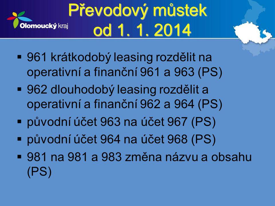 Převodový můstek od 1. 1. 2014 961 krátkodobý leasing rozdělit na operativní a finanční 961 a 963 (PS)