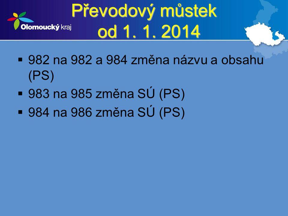 Převodový můstek od 1. 1. 2014 982 na 982 a 984 změna názvu a obsahu (PS) 983 na 985 změna SÚ (PS)