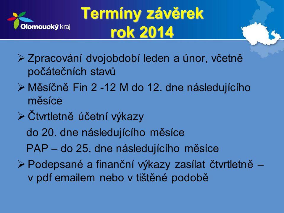 Termíny závěrek rok 2014 Zpracování dvojobdobí leden a únor, včetně počátečních stavů. Měsíčně Fin 2 -12 M do 12. dne následujícího měsíce.