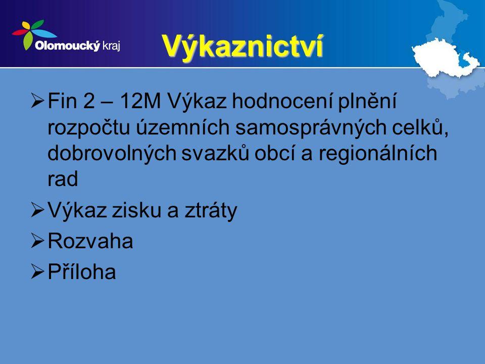 Výkaznictví Fin 2 – 12M Výkaz hodnocení plnění rozpočtu územních samosprávných celků, dobrovolných svazků obcí a regionálních rad.