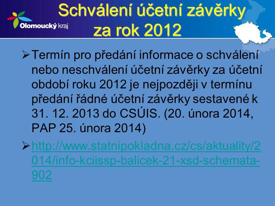 Schválení účetní závěrky za rok 2012
