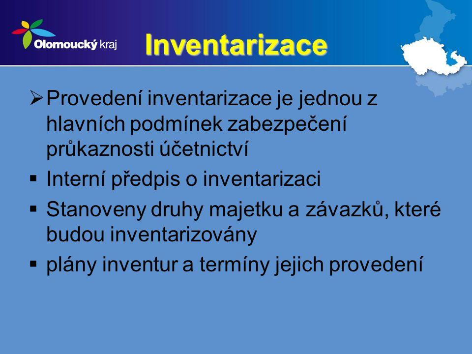 Inventarizace Provedení inventarizace je jednou z hlavních podmínek zabezpečení průkaznosti účetnictví.
