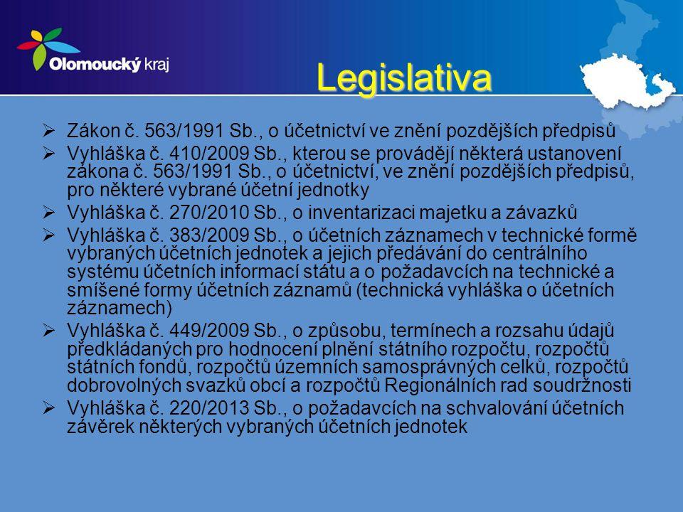 Legislativa Zákon č. 563/1991 Sb., o účetnictví ve znění pozdějších předpisů.
