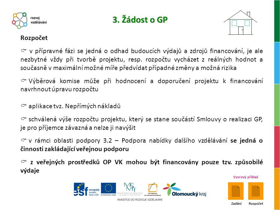 3. Žádost o GP Rozpočet.