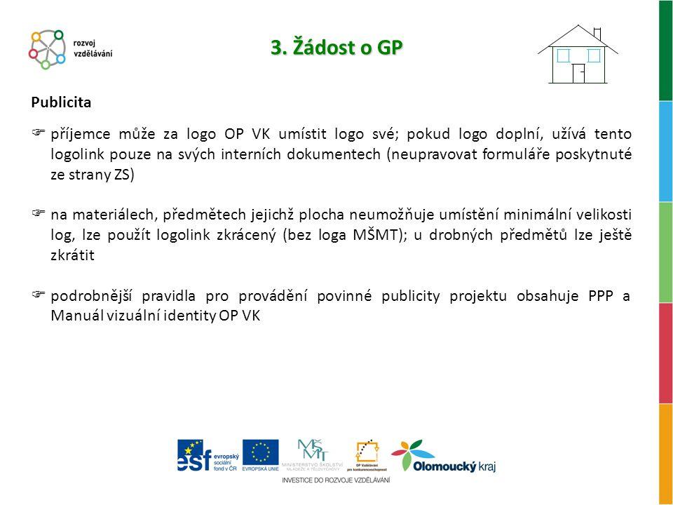 3. Žádost o GP Publicita.