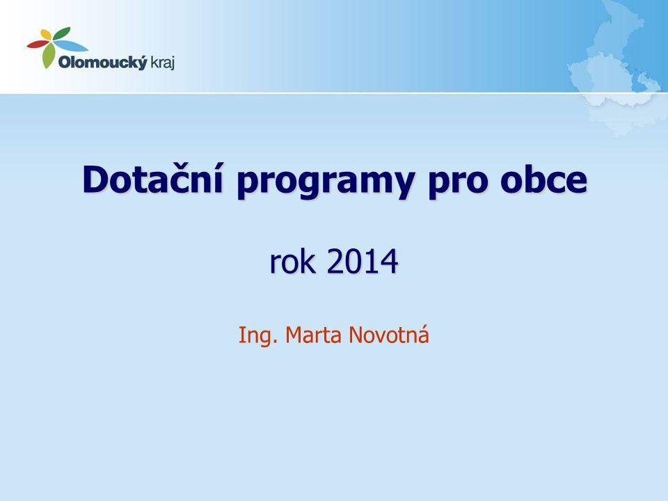Dotační programy pro obce rok 2014